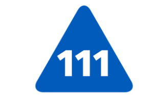 Blue triangle with numbers 111