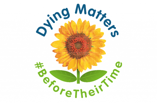 Logo featuring sunflower and words dying matters before their time
