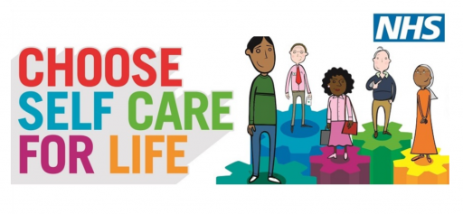 Cartoon five people with strapline choose self care for life