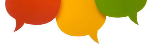 White background with three speech bubbles in red, yellow and green.