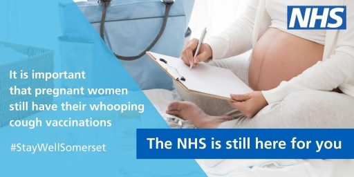 Pregnant woman. text: it is important that pregnant women still have their whooping cough vaccinations. The NHS is still here for you.