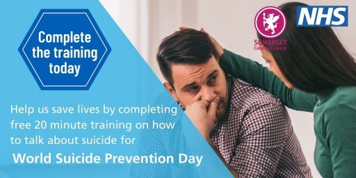 Image of man comforted by woman. text reads: complete the training today. help save lives by completing free 20 minute training on how to talk about suiice for world suicide prevention day