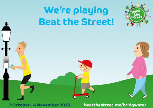 text: we are playing beat the street! cartoon image of children and adults walking/on a scooter on rolling hills
