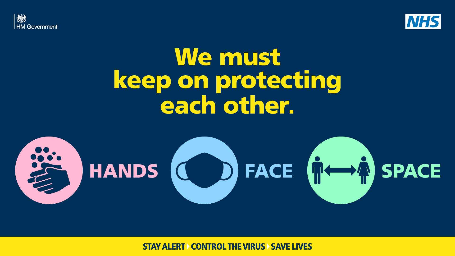 Text: We must keep on protecting each other. Hands Face Space