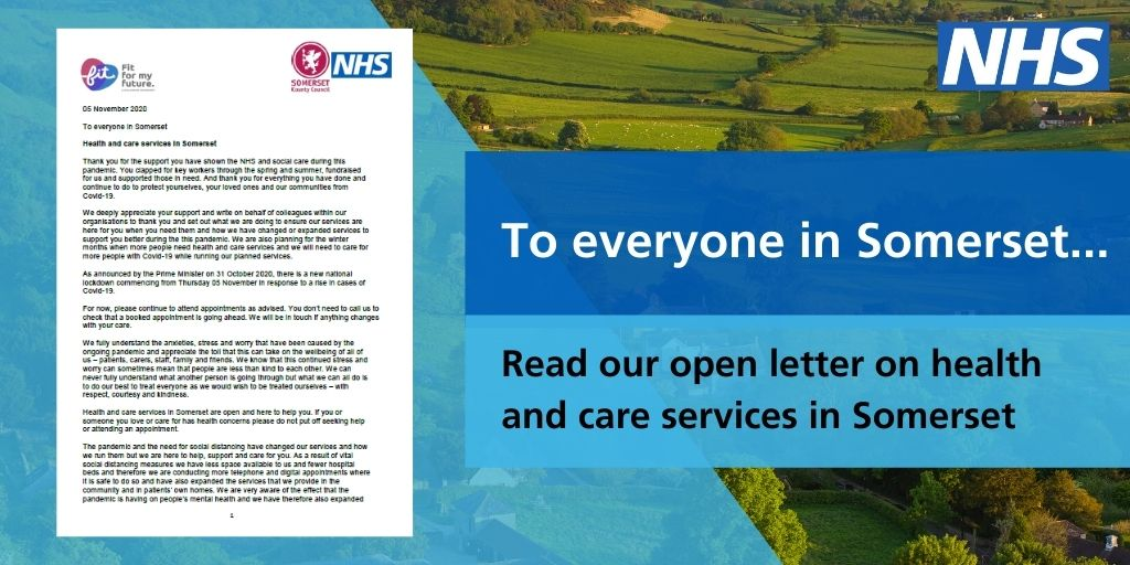 To everyone in Somerset, image of a letter and somerset hills in the background