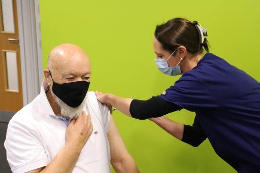Michael Eavis receives his Covid-19 vaccination