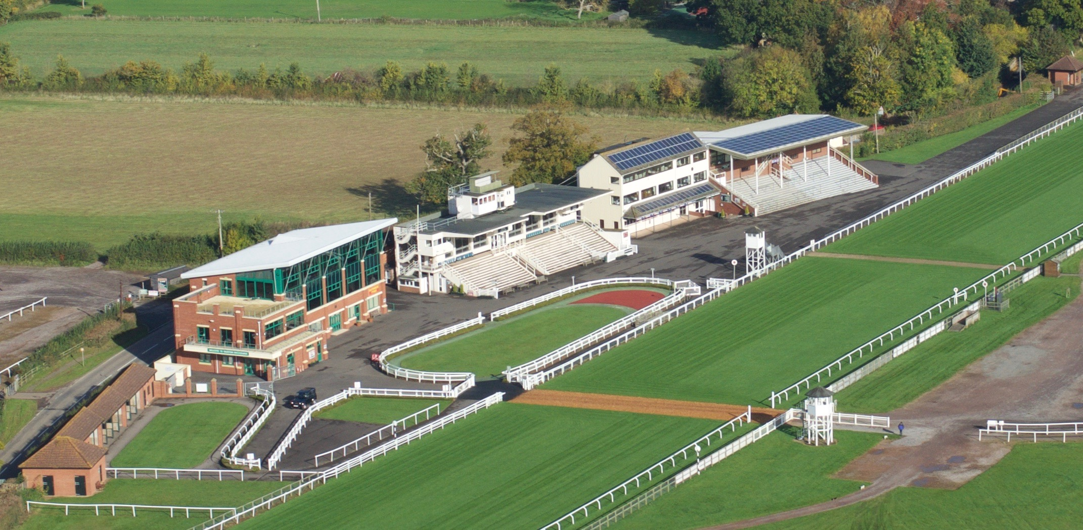 Ariel shot of Taunton of racecourse which will be a large vaccination centre in Somerset
