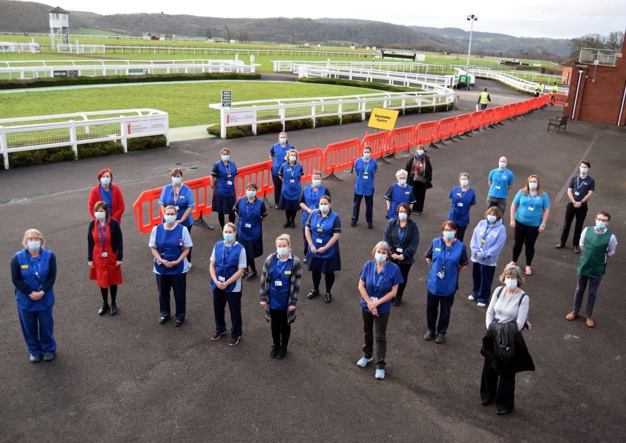 Staff at Taunton Racecourse vaccination site