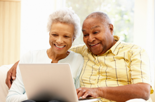 Older couple on laptop