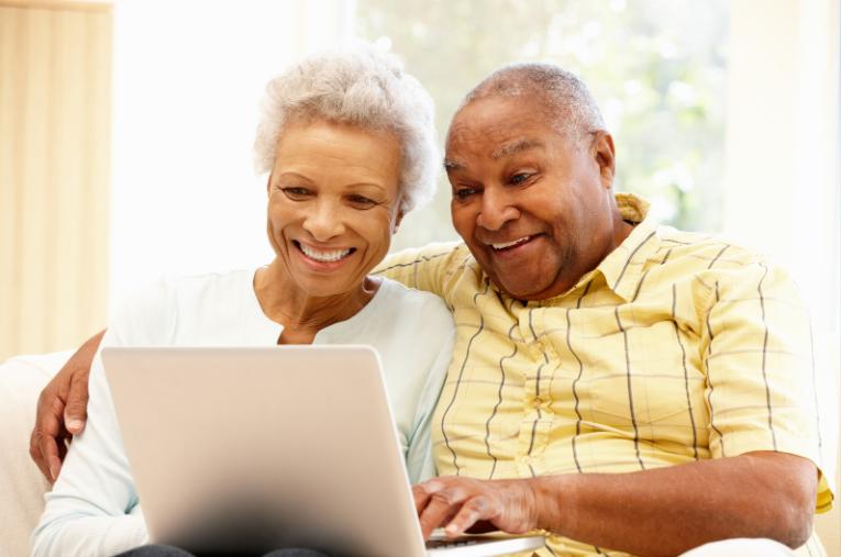 Older couple on laptop
